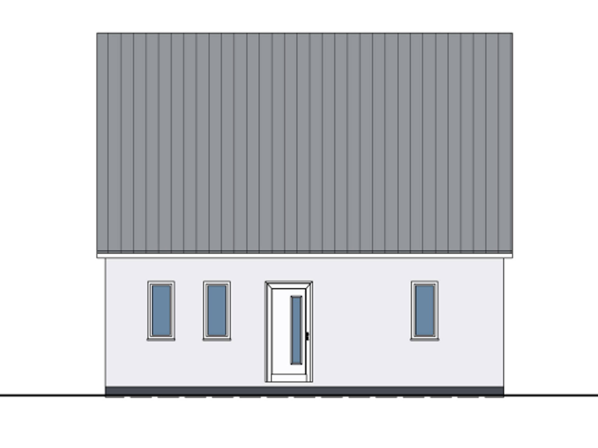 Zeichnung Frontansicht Haus Felix von W. Leberer Massivbau