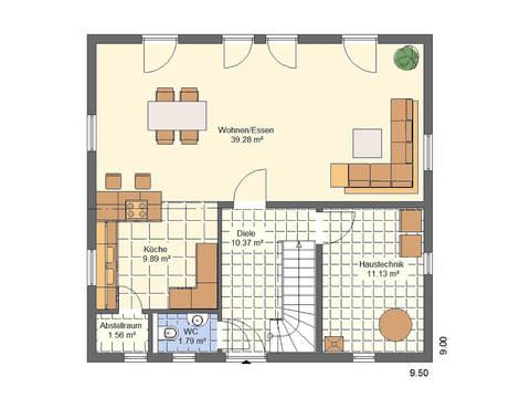 Haus Felix Grundriss EG von W. Leberer Massivbau