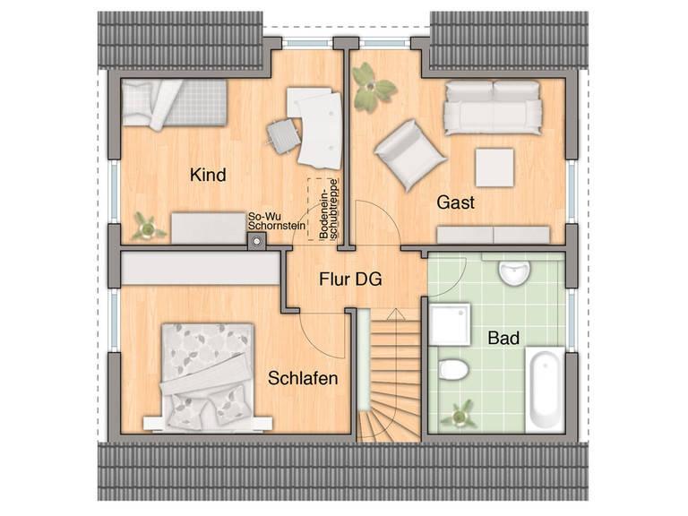 Haus Flair 113 Grundirss DG von Bauprojektierung Meyer - Town & Country