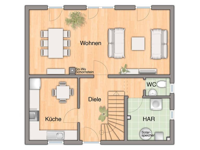 Haus Flair 113 Grundirss EG von Bauprojektierung Meyer - Town & Country