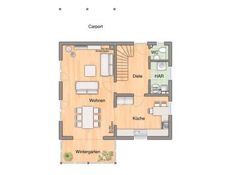 Wintergartenhaus 119 Grundriss EG von Bauprojektierung Meyer - Town & Country