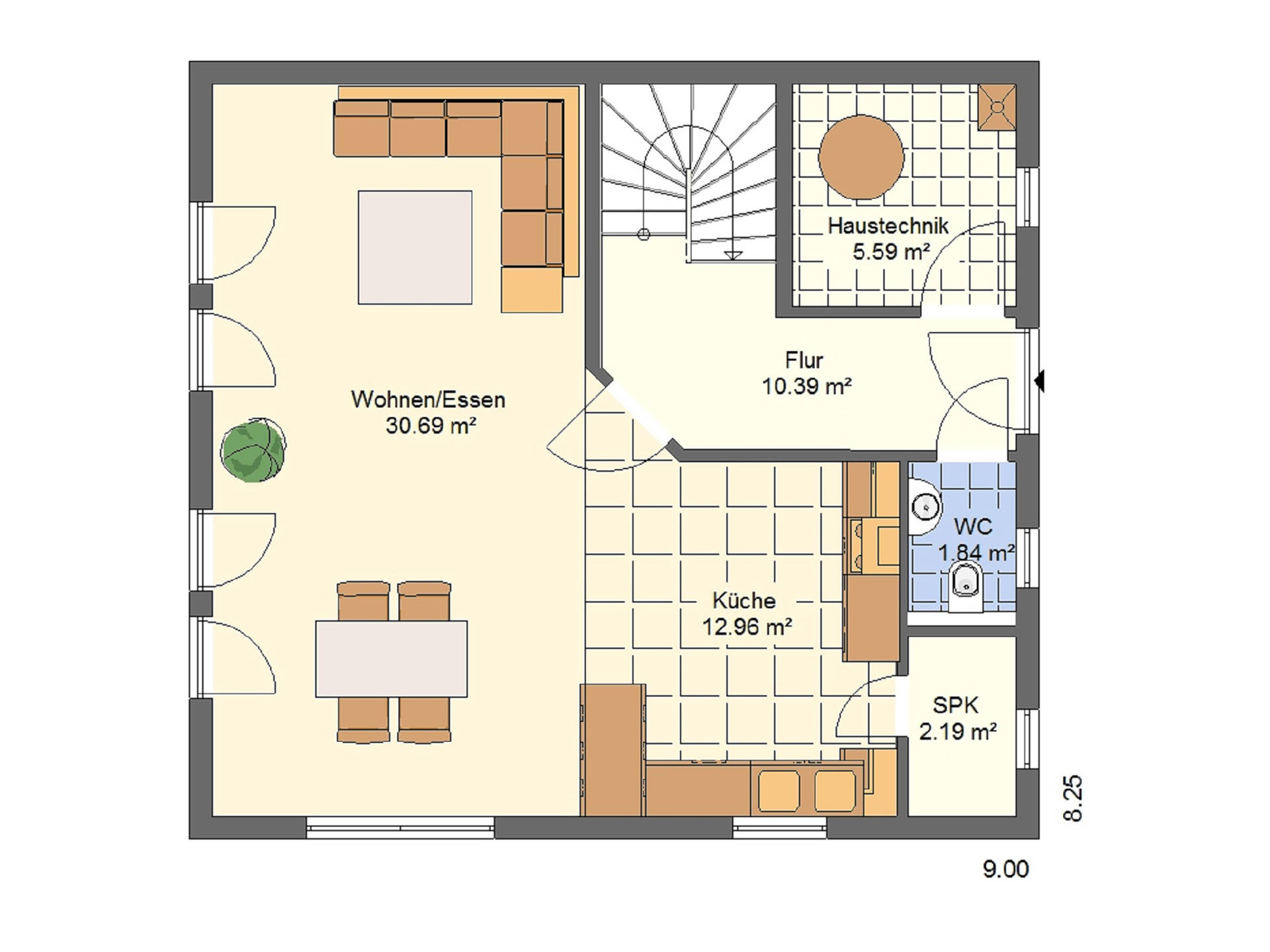 Haus Lea von W. Leberer Massivbau Grundriss EG