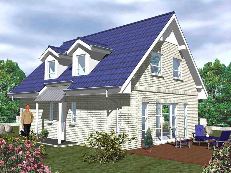 Haus Junge Baugeneration - ideal-heim-bau helle Verblendfassade