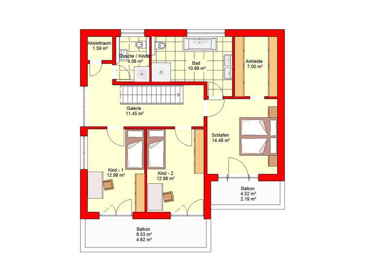 Haus Berlin 164 B.I.F.-Konzpte Grundriss Dachgeschoss