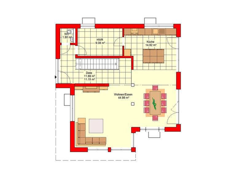 Haus Berlin 164 B.I.F.-Konzpte Grundriss Erdgeschoss