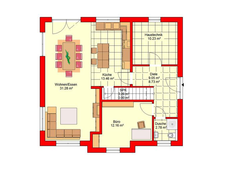 Haus Bingen 151 SD B.I.F.-Konzepte Grundriss Erdgeschoss