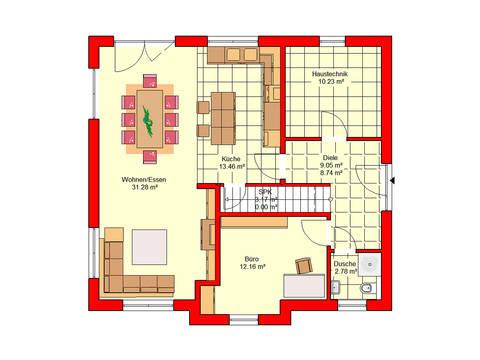 Grundriss Erdgeschoss Stadtvilla Bingen 158 B.I.F.-Konzepte