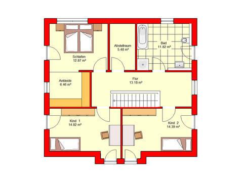 Grundriss Obergeschoss Stadtvilla Bingen 158 B.I.F.-Konzepte