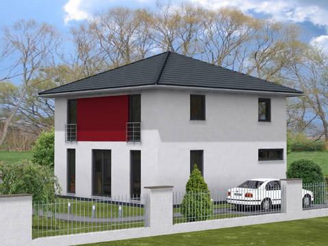 Haus Leon von W. Leberer Massivbau Ansicht rot