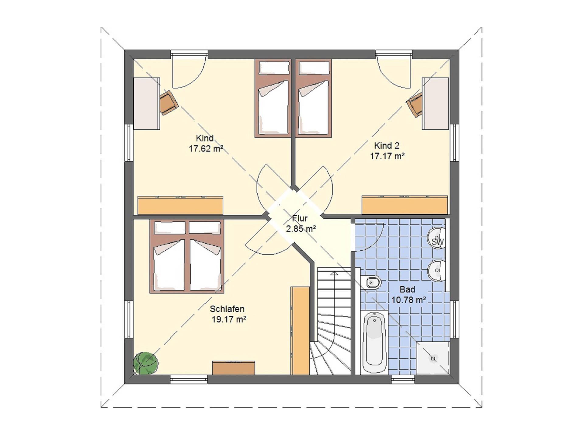 Haus Leon von W. Leberer Massivbau Grundriss DG Variante 2