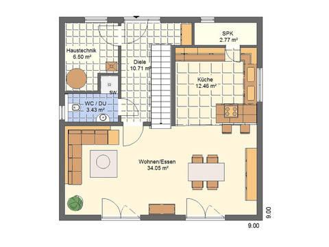 Haus Leon von W. Leberer Massivbau Grundriss EG Variante 1