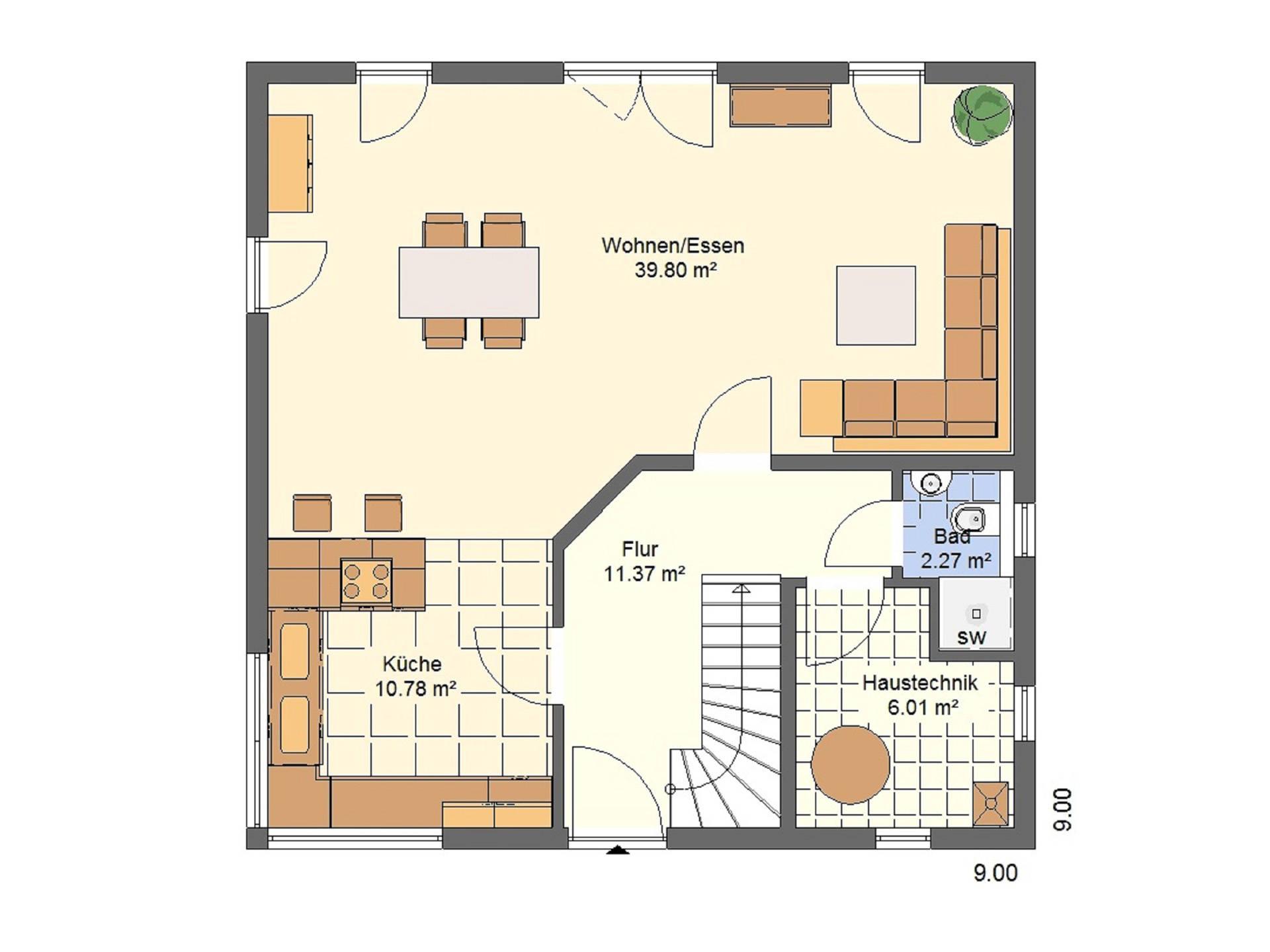 Haus Leon von W. Leberer Massivbau Grundriss EG Variante 2