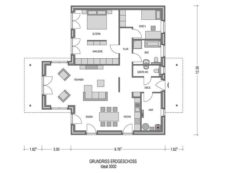 Bungalow Ideal 3000.2 Grundriss von Bauidee