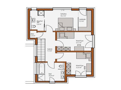 Grundriss Obergeschoss Haus Avantgrade 141 Rötzer Ziegel Element Haus