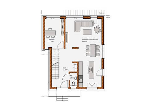 Grundriss Erdgeschoss Haus Avantgrade 141 Rötzer Ziegel Element Haus