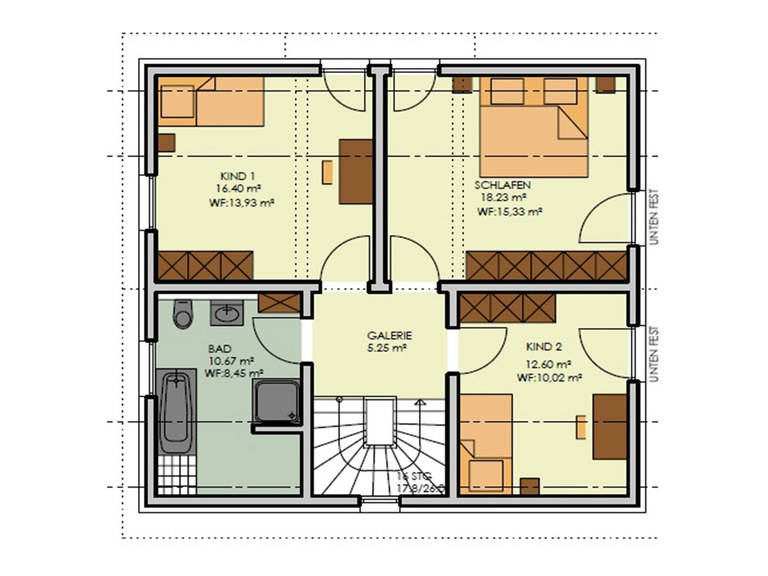 Grundriss Obergeschoss Haus Simply Clever Mainfranken Rötzer Ziegel Element Haus