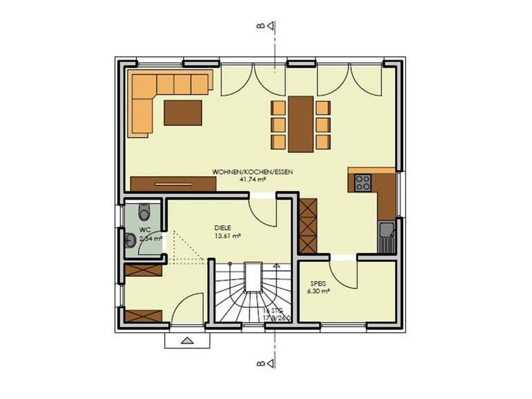 Grundriss Erdgeschoss Haus Simply Clever Mainfranken Rötzer Ziegel Element Haus