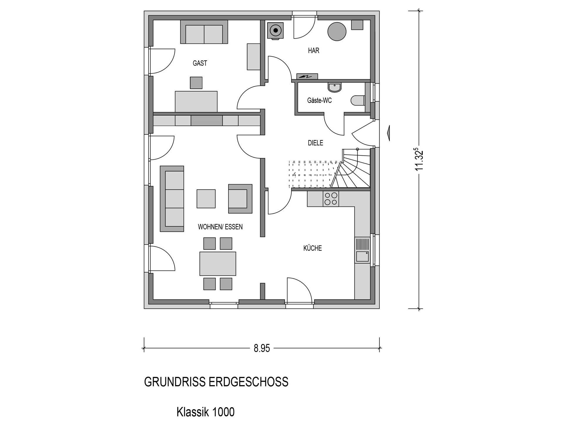 Bauidee Einfamilienhaus Klassik 1000.2 Grundriss