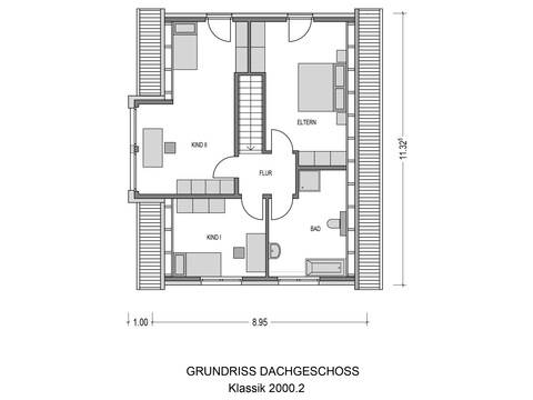 Bauidee Einfamilienhaus Klassik 2000.2 Grundriss