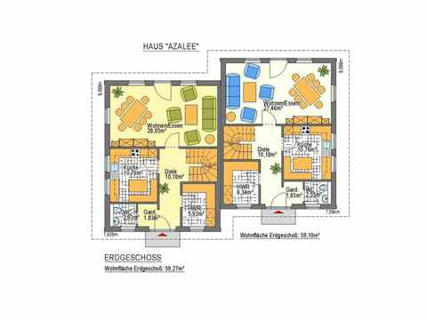 Doppelhaus Azalee - ideal-heim-bau Grundriss EG