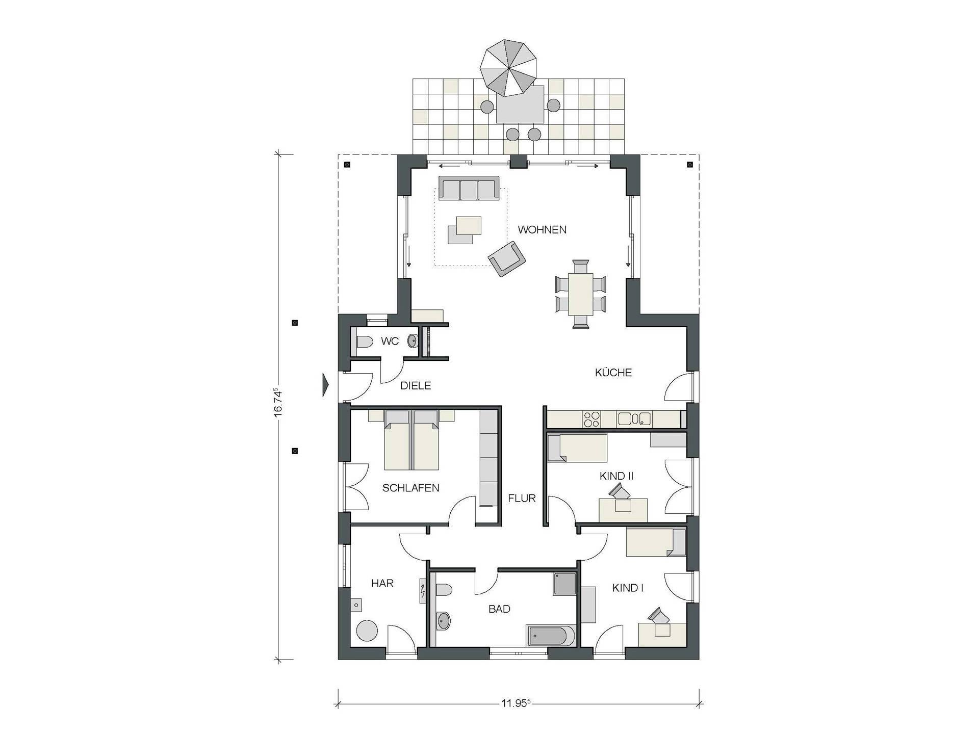 Konzepthaus Bungalow IDEAL 5000.2 Grundriss
