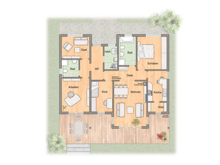 Adira HausBau Bungalow 128 Grundriss