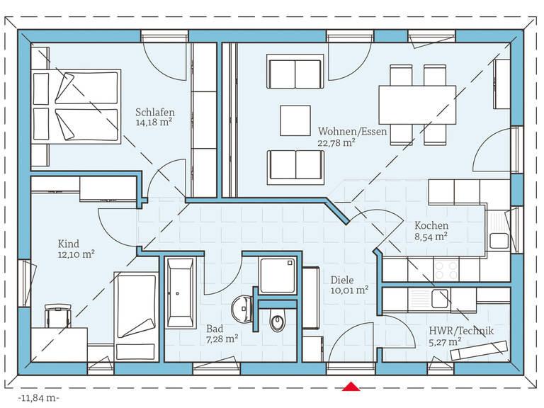 Hanse Haus Bungalow 80 Grundriss