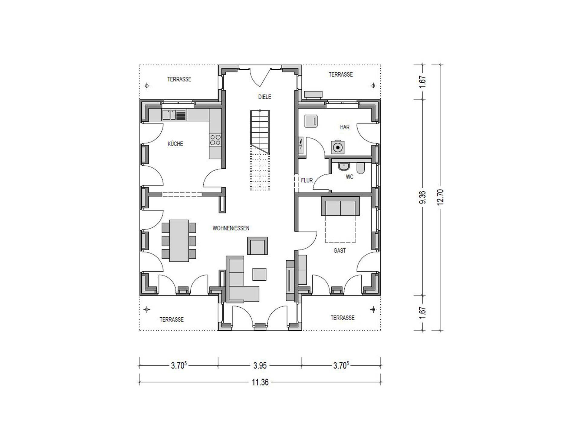 Grundriss EG Stadtvilla Eleganz 1180. SV von Bauidee Wohlfühl-Häuser
