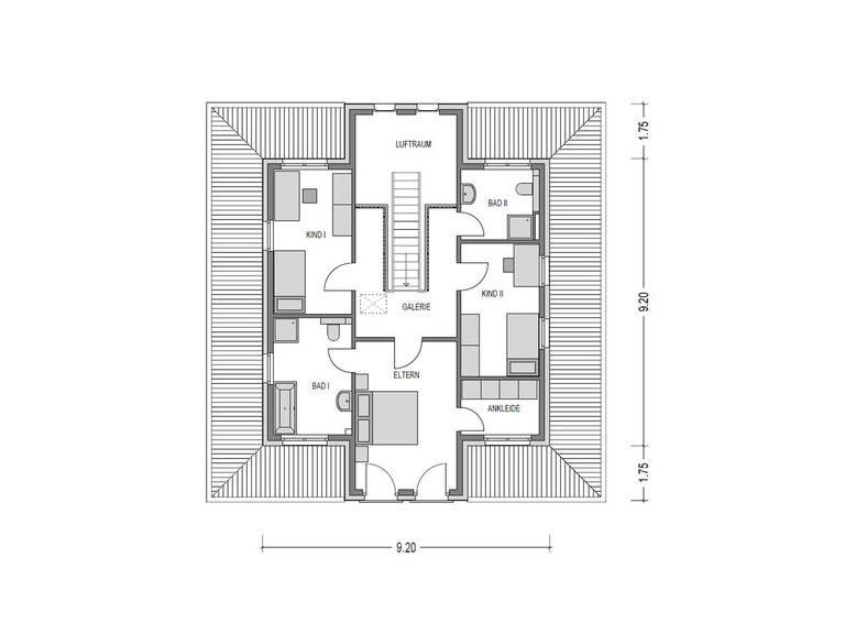 Grundriss OG Stadtvilla Eleganz 1180. SV von Bauidee Wohlfühl-Häuser