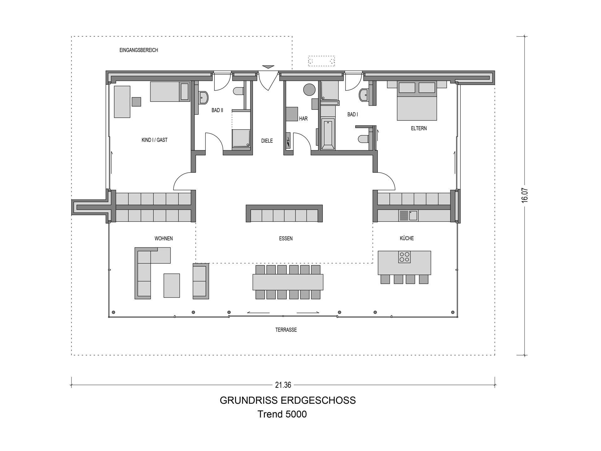 Grundriss Bungalow Trend 5000.2 von Bauidee Wohlfühl-Häuser