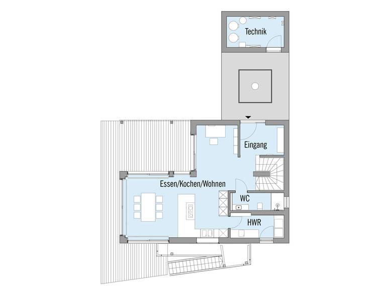 Baufritz Musterhaus Haus am See Grundriss EG