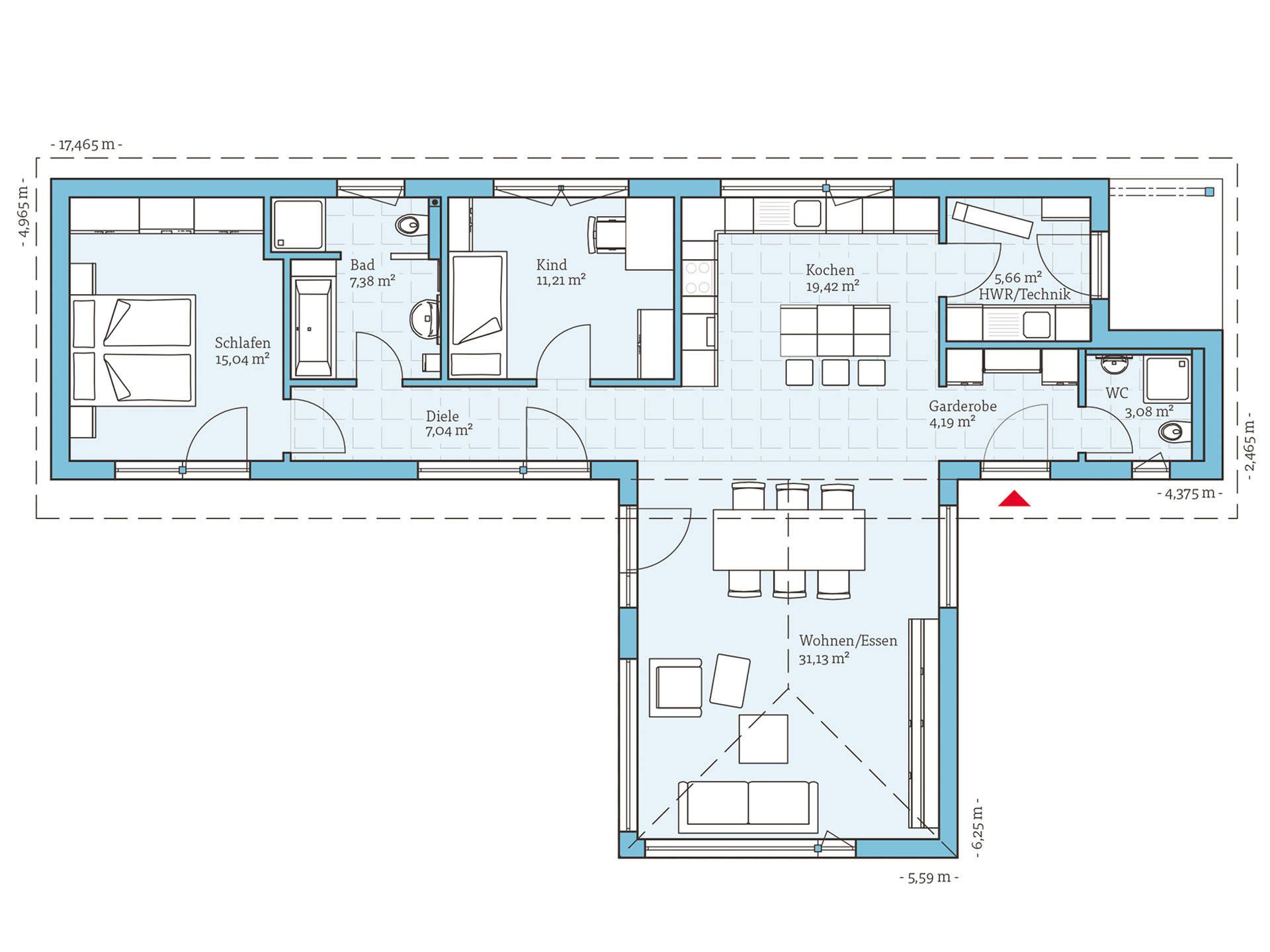 Hanse Haus Bungalow 104 Grundriss