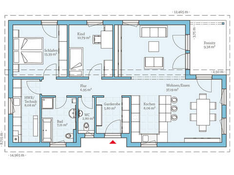 Hanse Haus Bungalow 109 Grundriss