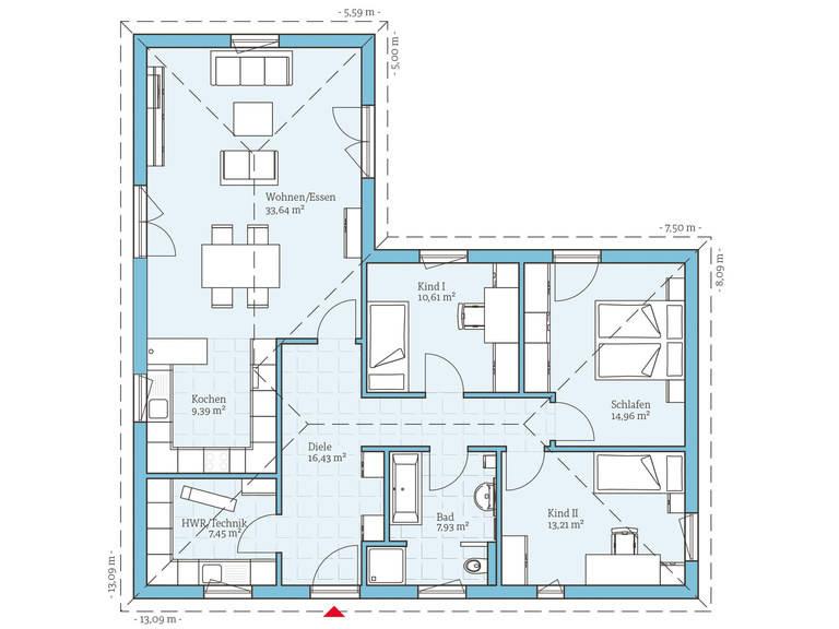 Hanse Haus Bungalow 113 Grundriss