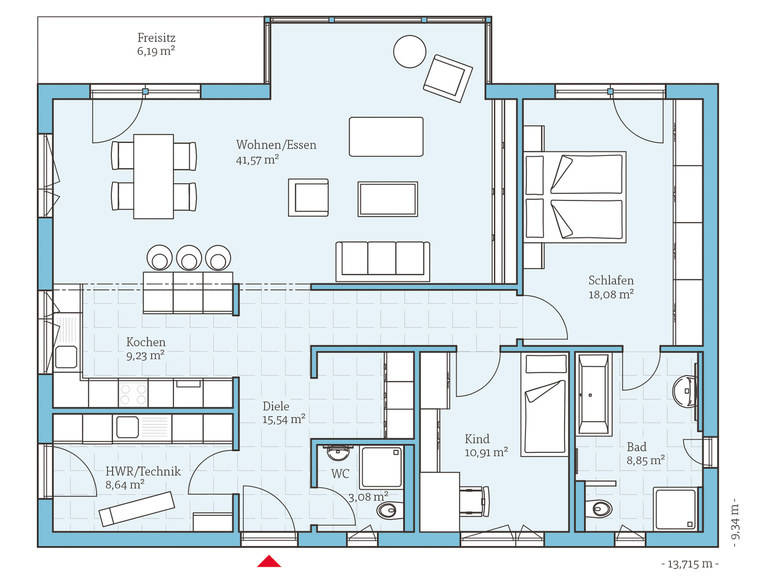 Hanse Haus Bungalow 122 Grundriss