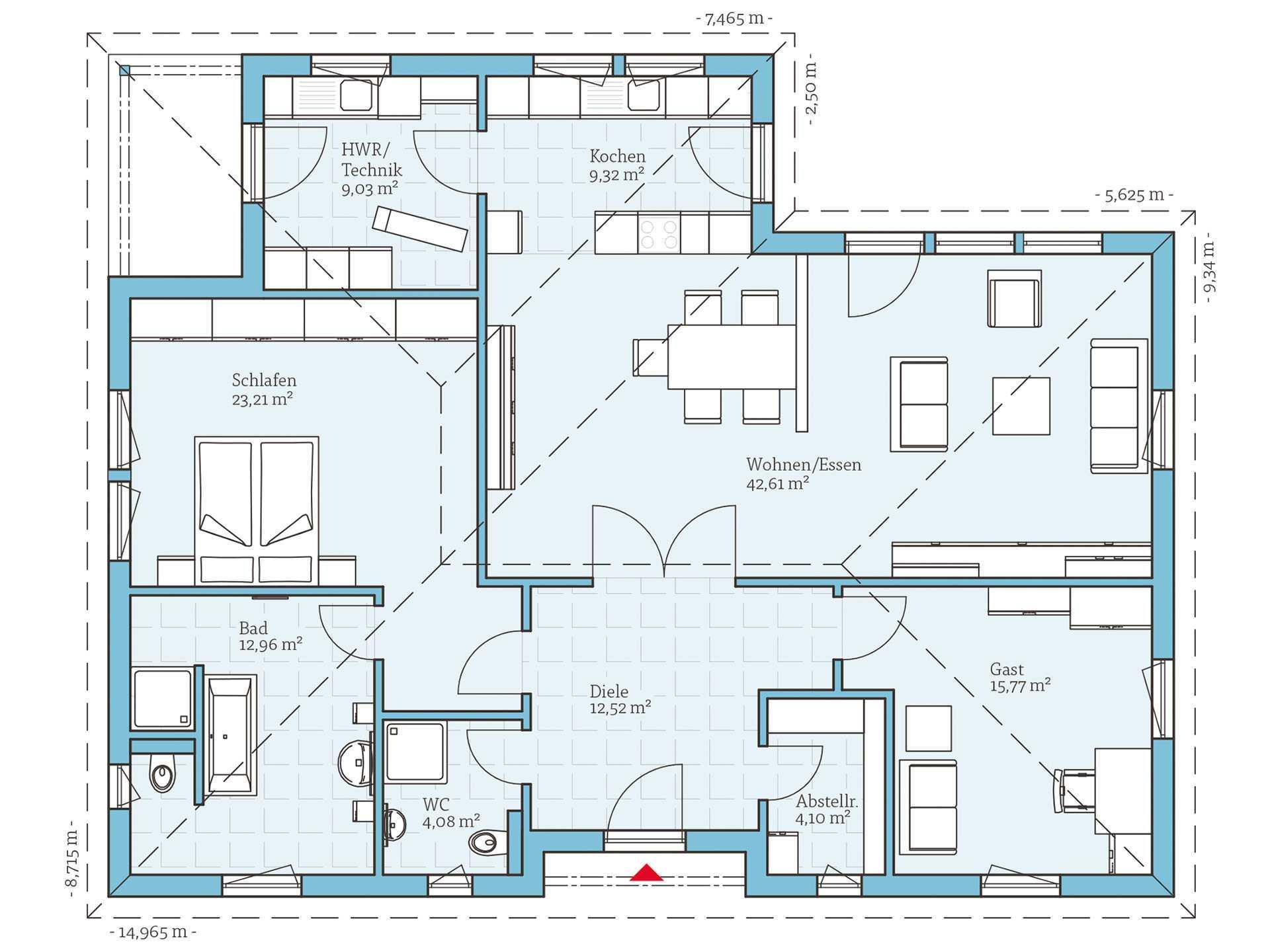 bungalow 133 hanse haus. Black Bedroom Furniture Sets. Home Design Ideas