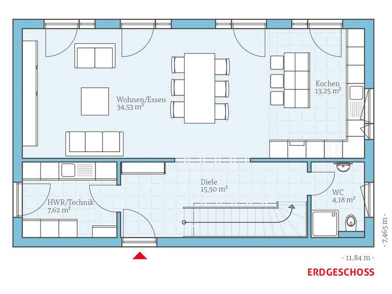 Hanse Haus Cubus 148 Grundriss EG