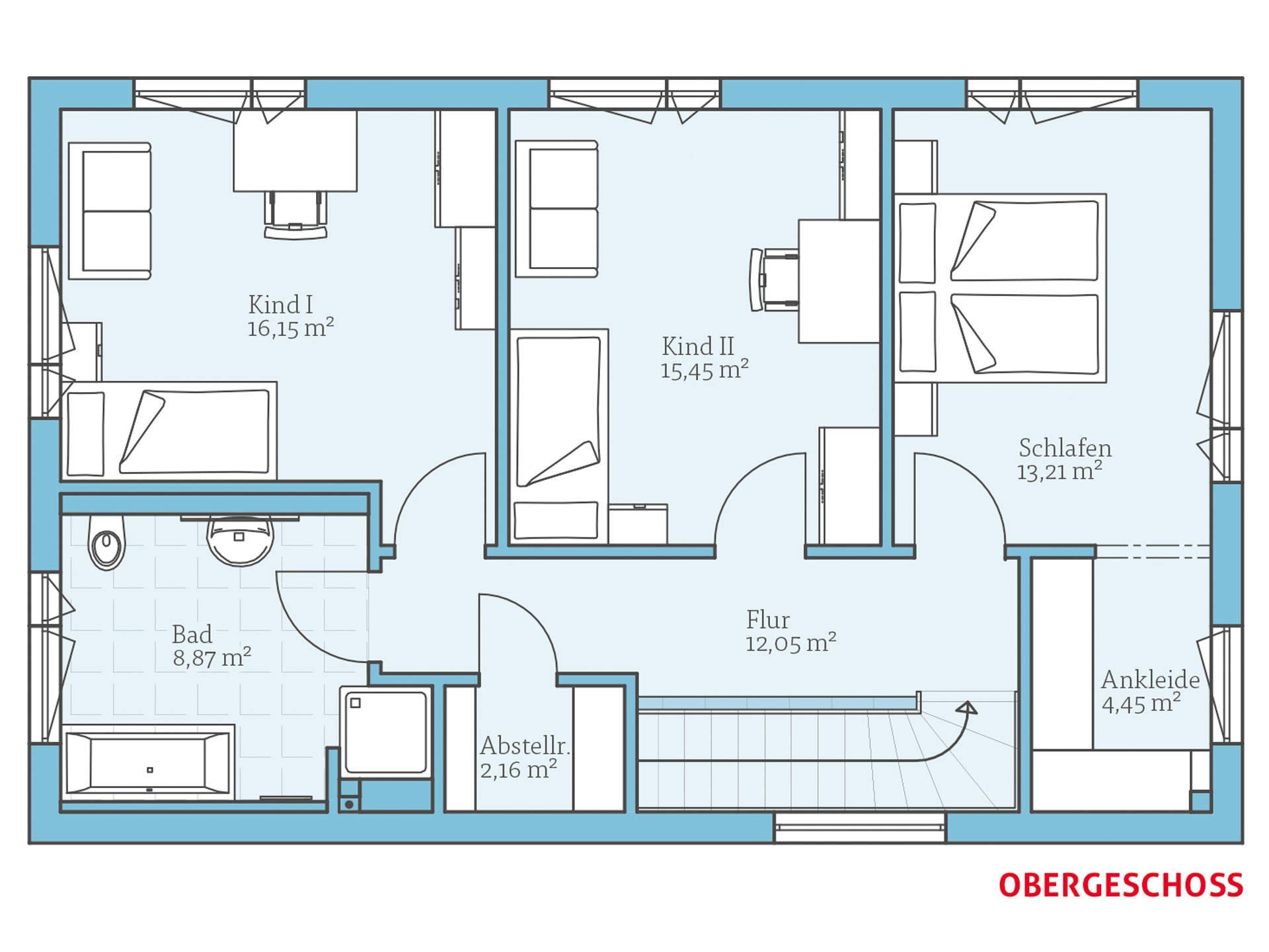 Hanse Haus Cubus 148 Grundriss OG