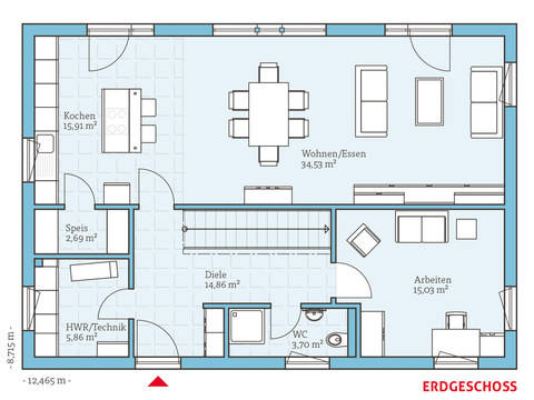 Hanse Haus Cubus 183 Grundriss EG