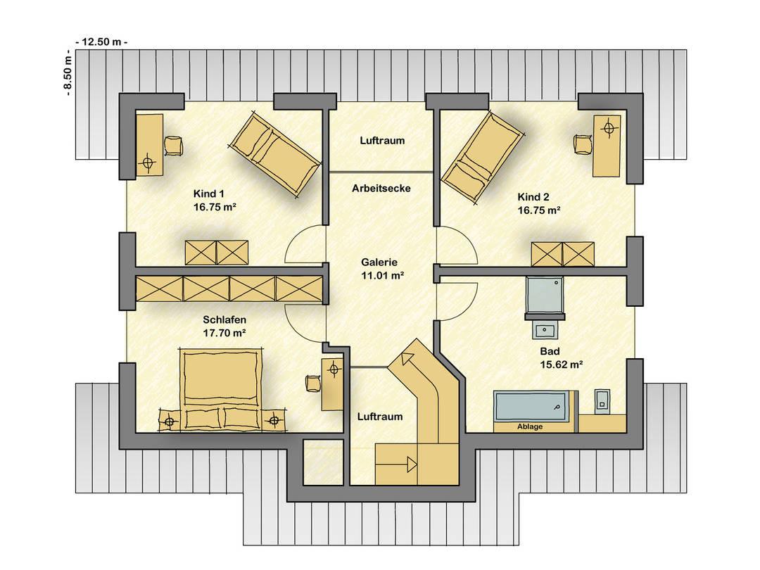 Musterhaus Wuppertal, das Übermorgenhaus Grundriss DG von Partner-Haus