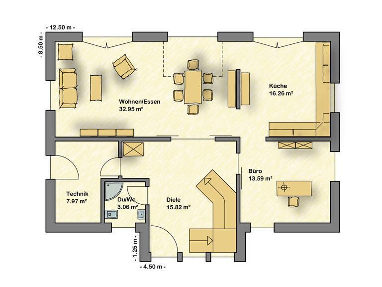 Musterhaus Wuppertal, das Übermorgenhaus Grundriss EG von Partner-Haus