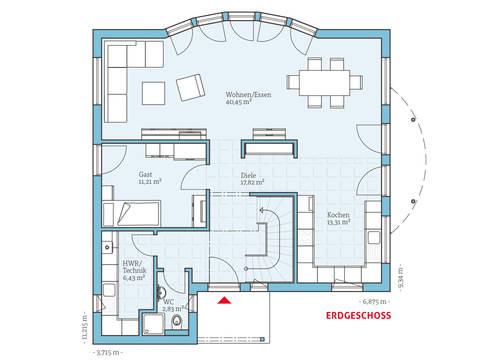 Hanse Haus Variant 170 Grundriss EG