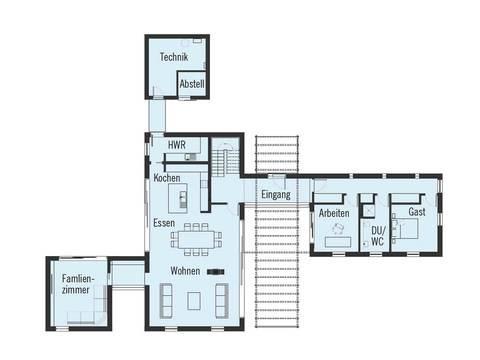 Bauhaus Russel Grundriss EG von Baufritz