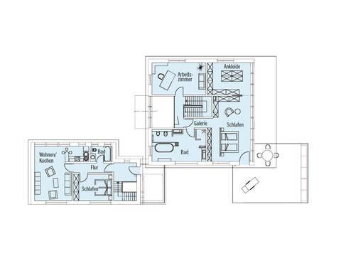 Bauhaus Tessin Grundriss OG von Baufritz