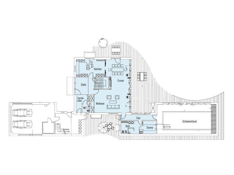 Bauhaus Tessin Grundriss EG von Baufritz