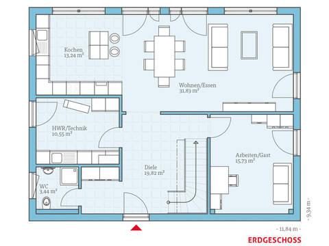 Hanse Haus Variant 35-184 Grundriss EG