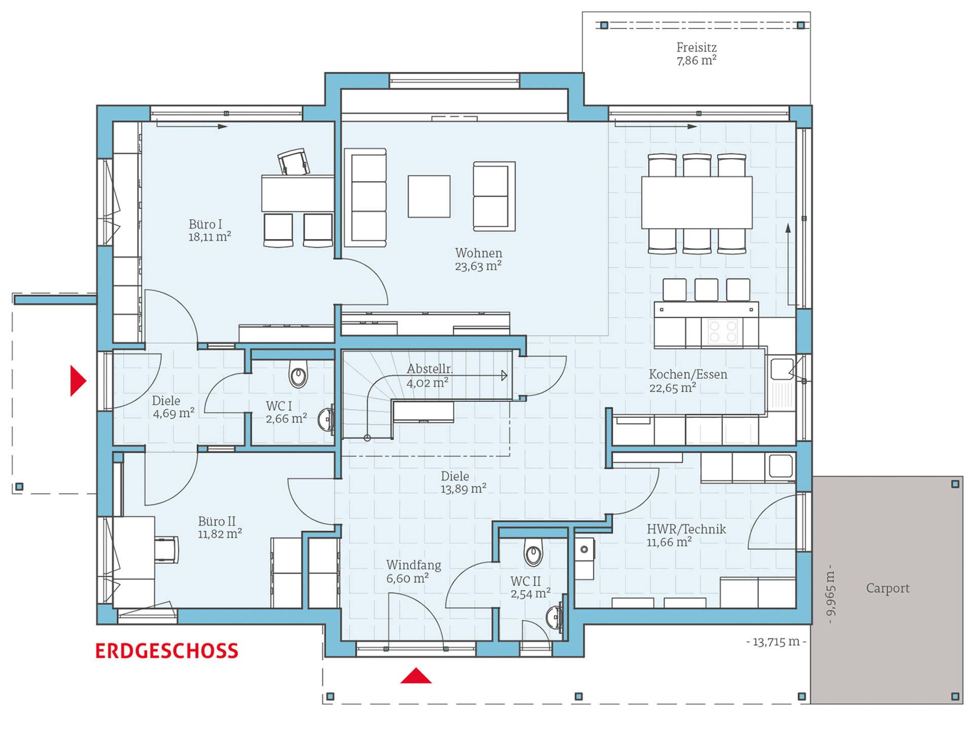 Hanse Haus Variant 35-235 Grundriss EG