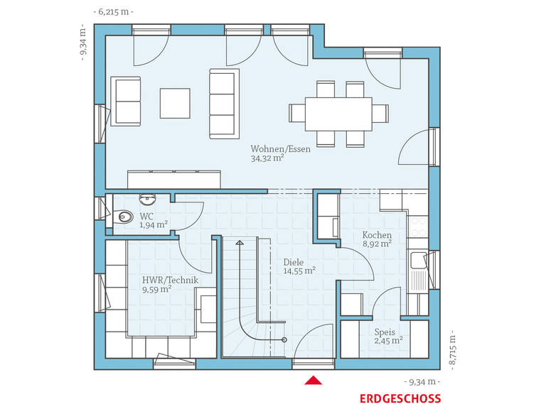 Hanse Haus Variant 45-130 Grundriss EG