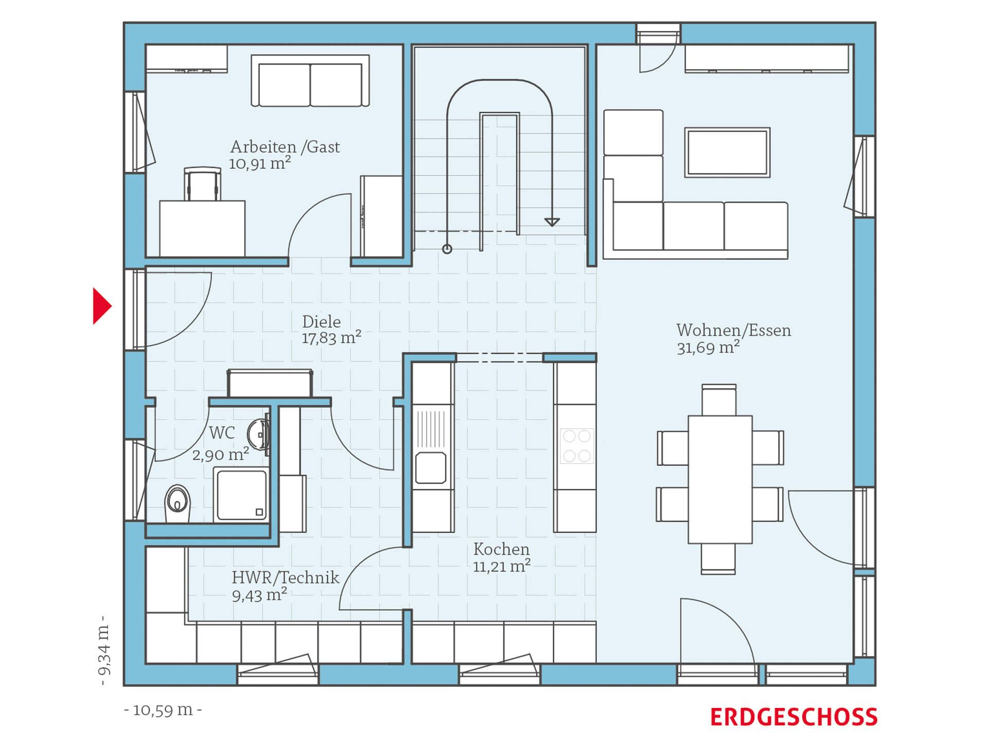 Hanse Haus Variant 45-154 Grundriss EG