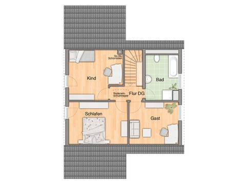 Wintergartenhaus 118 Grundriss Dachgeschoss
